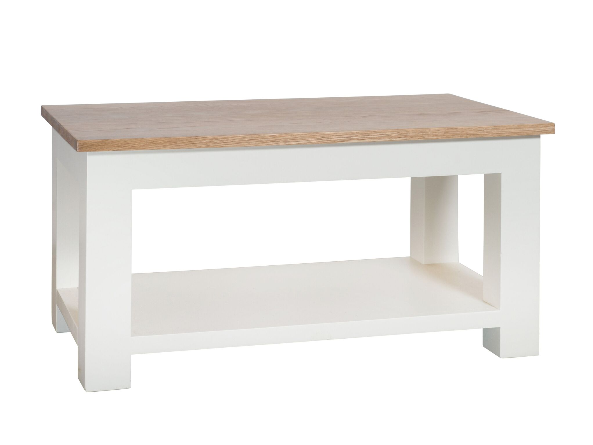 So Cream Painted Oak Top Coffee Table With Shelf