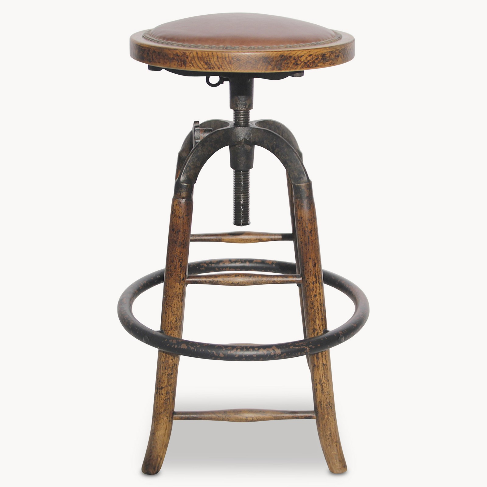 Ow Woodcroft Leather Amp Metal Adjustable Bar Stool