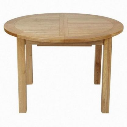 Maya Oak Round Extending Dining Table, Wood Table Round